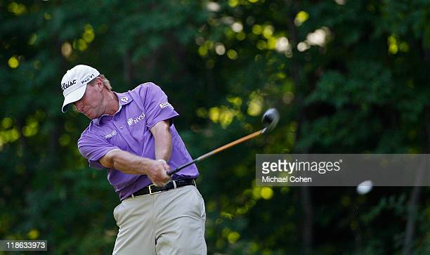 Steve Stricker hits his drive on the 17th hole during the third round of the John Deere Classic at TPC Deere Run on July 9 2011 in Silvis Illinois
