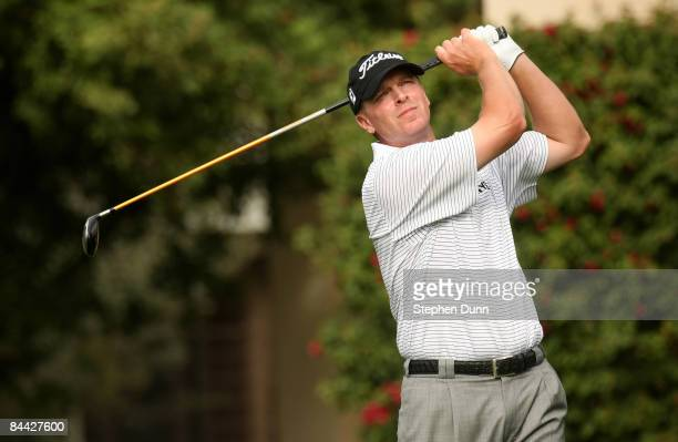 Steve Stricker hits his tee shot on the eighth hole on the Palmer Private course of PGA West during the third round of the Bob Hope Chrysler Classic...