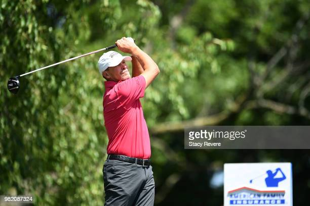 Jerry Kelly hits his tee shot on the seventh hole during the second round of the American Family Insurance Championship at University Ridge Golf...