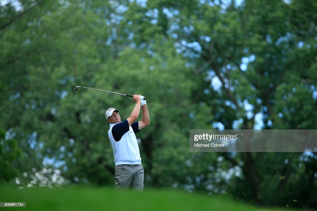 Steve Stricker hits his tee shot on the third hole during the second round of the American Family Insurance Championship held at University Ridge Golf Course on June 24, 2017 in Madison, Wisconsin.