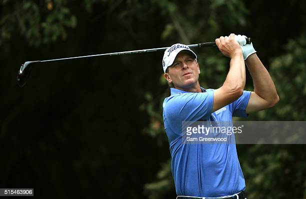 Steve Stricker hits off the 11th tee during the final round of the Valspar Championship at Innisbrook Resort Copperhead Course on March 13 2016 in...