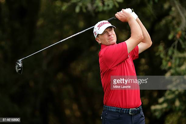 Steve Stricker hits off the 11th tee during the first round of the Valspar Championship at Innisbrook Resort Copperhead Course on March 10 2016 in...