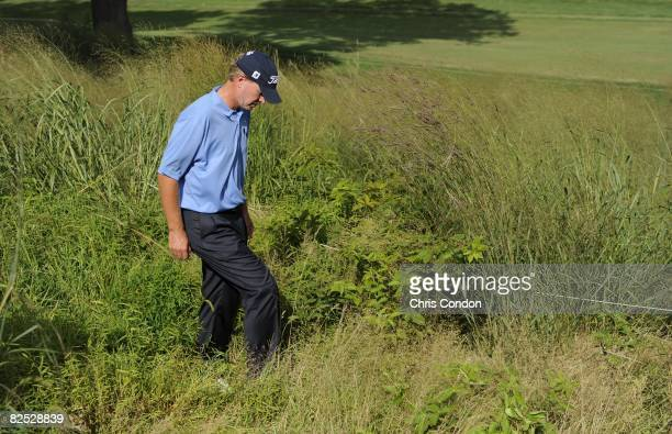 Steve Stricker looks for his lost ball on during the third round of The Barclays held at the Ridgewood Country Club on August 22 2008 in Paramus New...