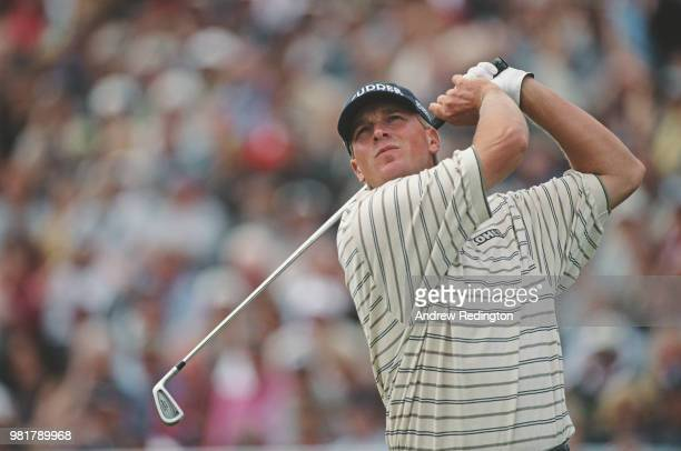 Steve Stricker of the United States follows his shot during the 130th Open Championship on 20 July 2001 at the Royal Lytham St Annes Golf Club in...