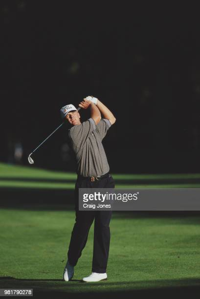Steve Stricker of the United States hits from the fairway during the 80th PGA Championship golf tournament on 14 August 1998 at the Sahalee Country...