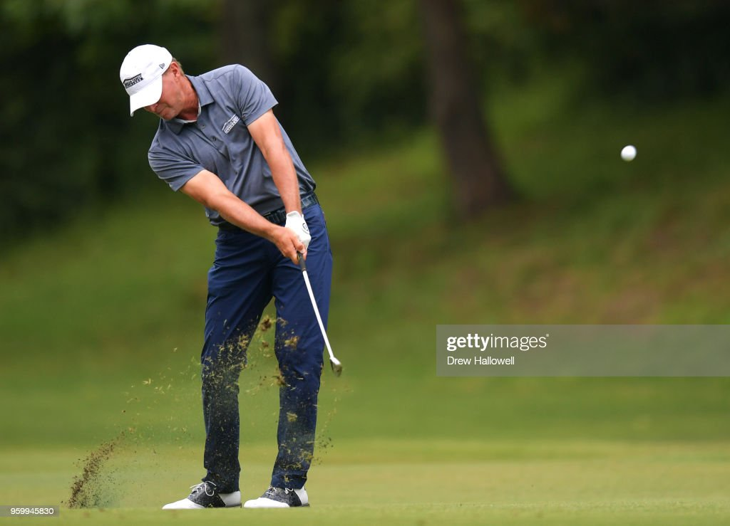 Steve Stricker of the United States plays a shot on the sixth hole during the second round of the Regions Tradition at the Greystone Golf & Country Club on May 18, 2018 in Birmingham, Alabama.