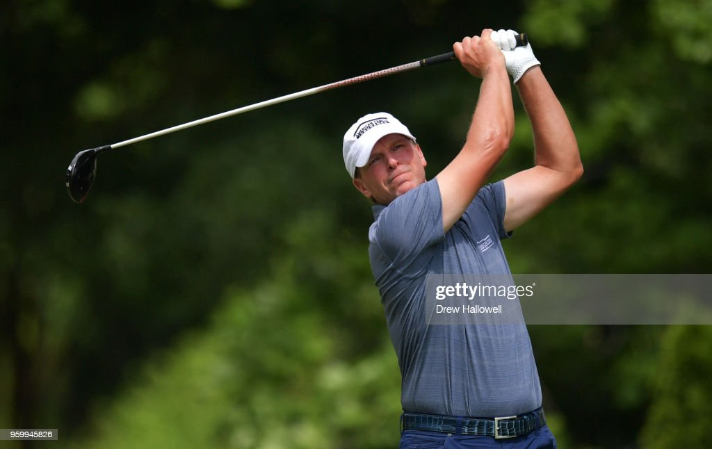 Steve Stricker of the United States plays his tee shot on the ninth hole during the second round of the Regions Tradition at the Greystone Golf & Country Club on May 18, 2018 in Birmingham, Alabama.