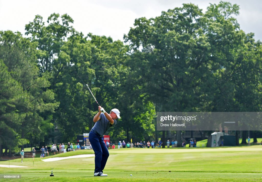 Steve Stricker of the United States plays his tee shot on the seventh hole during the second round of the Regions Tradition at the Greystone Golf & Country Club on May 18, 2018 in Birmingham, Alabama.
