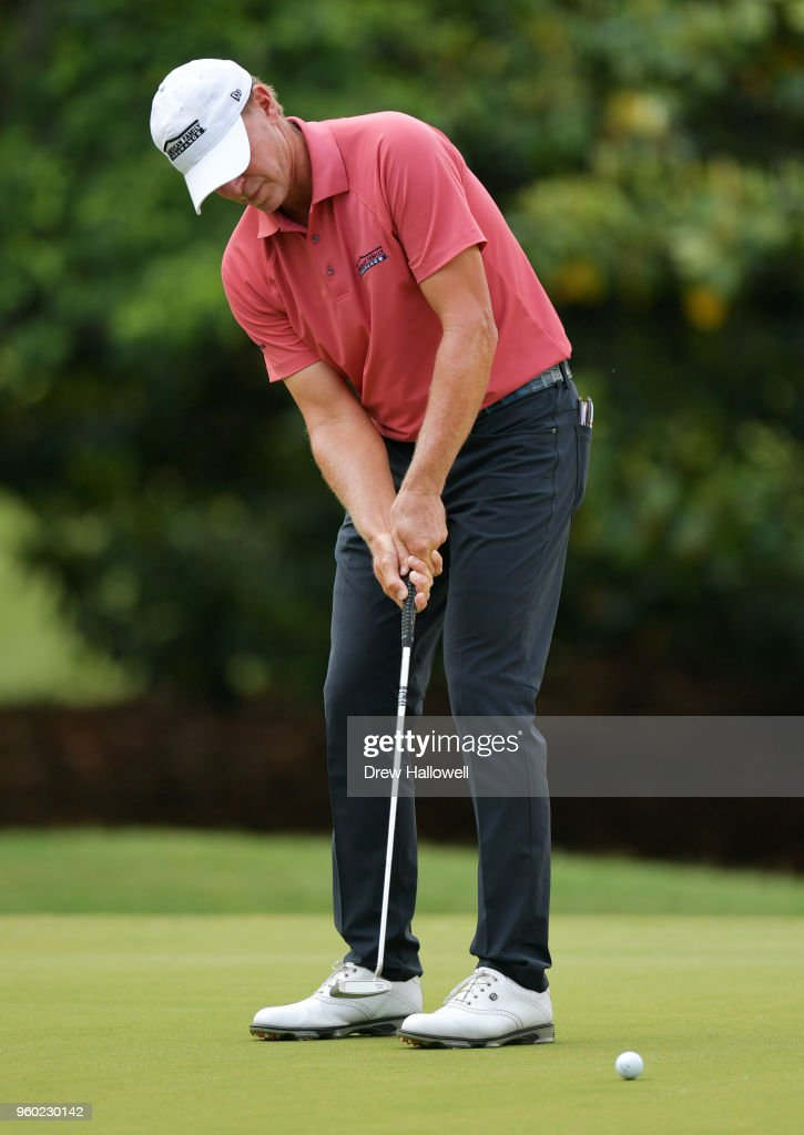 Steve Stricker of the United States putts on the 15th green during the third round of the Regions Tradition at Greystone Golf & Country Club on May 19, 2018 in Birmingham, Alabama.