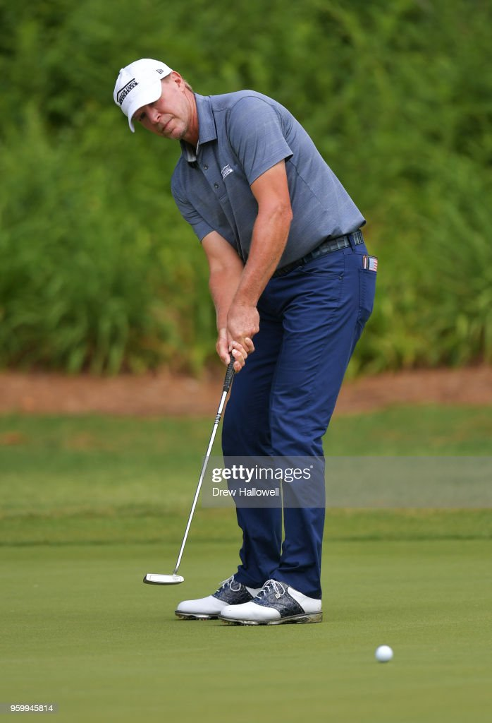 Steve Stricker of the United States putts on the sixth hole during the second round of the Regions Tradition at the Greystone Golf & Country Club on May 18, 2018 in Birmingham, Alabama.