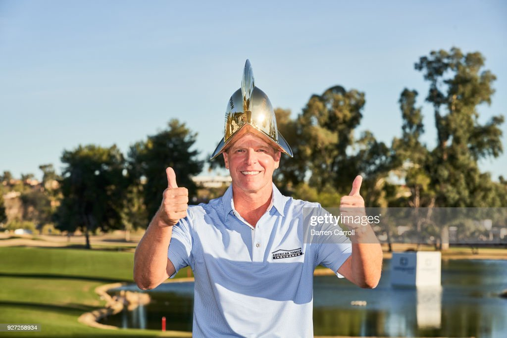 Steve Stricker of the United States with the champion's trophy following the final round of the 2018 Cologuard Classic at Omni Tucson National Resort on March 4, 2018 in Tucson, Arizona.
