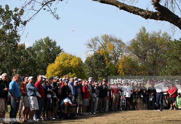 Steve Stricker of the USA hits a shot from the rough on the sixth hole during the Afternoon FourBall Matches for The 39th Ryder Cup at Medinah...
