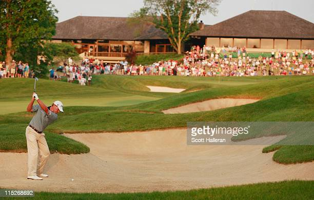 Steve Stricker plays a bunker shot on the 18th hole during the final round of the Memorial Tournament presented by Nationwide Insurance at the...