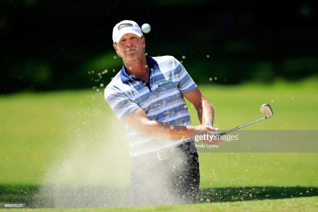 Steve Stricker plays a shot from a bunker on the tenth hole during the first round of the FedEx St. Jude Classic at TPC Southwind on June 7, 2018 in Memphis, Tennessee.