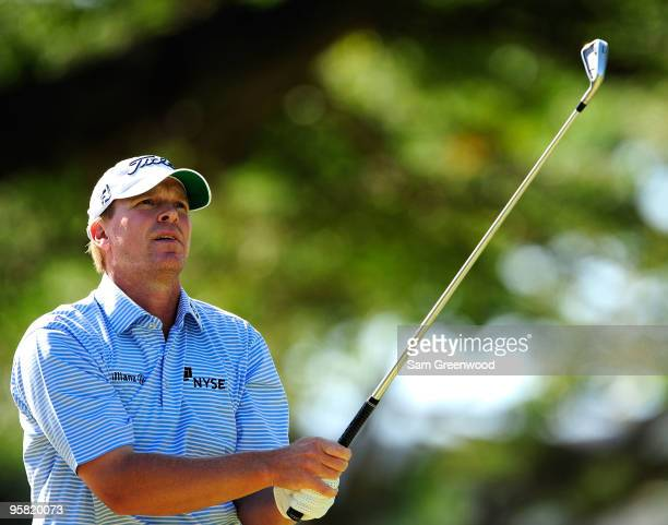 Steve Stricker plays a shot on the 8th hole during the third round of the Sony Open at Waialae Country Club on January 16 2010 in Honolulu Hawaii