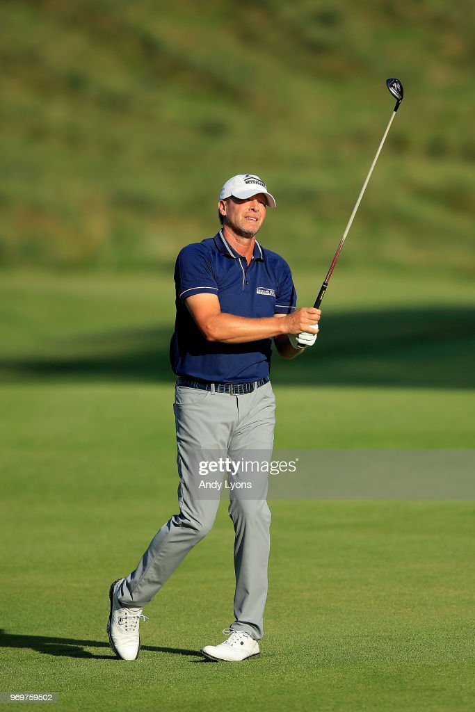 Steve Stricker plays his second shot on the tenth hole during the second round of the FedEx St. Jude Classic at at TPC Southwind on June 8, 2018 in Memphis, Tennessee.