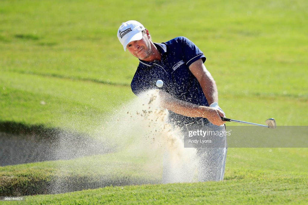 Steve Stricker plays his third shot on the 16th hole during the second round of the FedEx St. Jude Classic at at TPC Southwind on June 8, 2018 in Memphis, Tennessee.