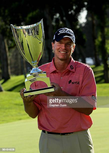 Steve Stricker poses with the trophy after the final round of the Northern Trust Open at Riviera Country Club on February 7 2010 in Pacific Palisades...