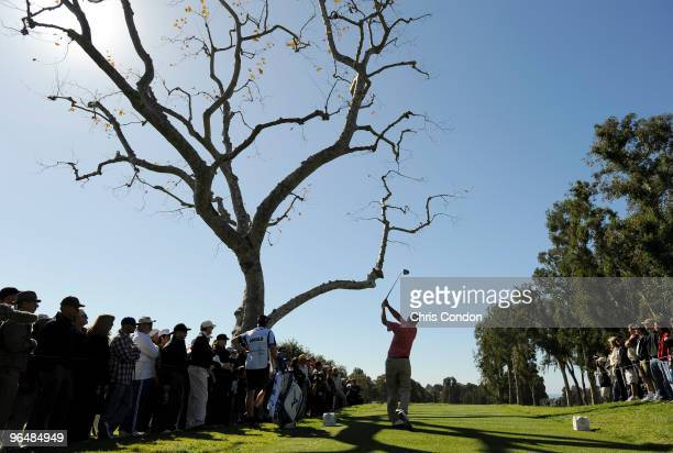 Steve Stricker tees off on during the final round of the Northern Trust Open at Riviera Country Club on February 7 2010 in Pacific Palisades...