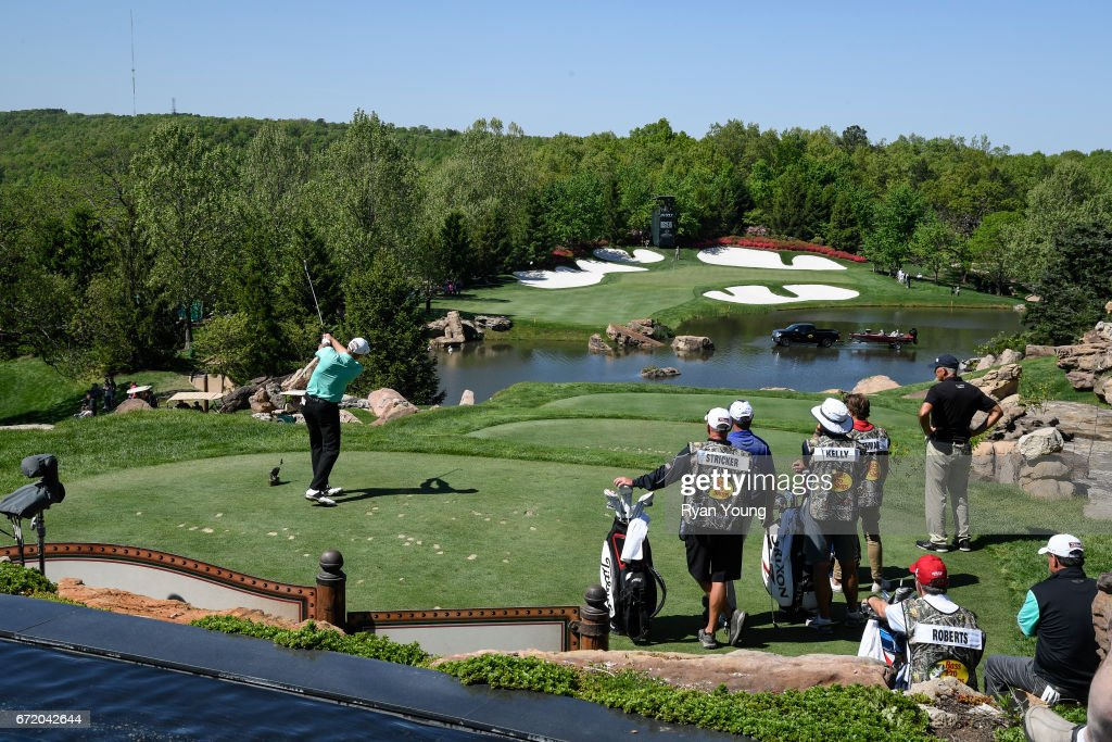 Steve Stricker tees off on the fourth hole during the final round of the PGA TOUR Champions Bass Pro Shops Legends of Golf at Big Cedar Lodge at Top of the Rock on April 23, 2017 in Ridgedale, Missouri.