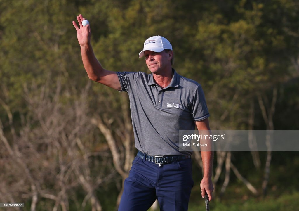 Steve Stricker waves to the gallery after winning the Rapiscan Systems Classic at Fallen Oak Golf Course on March 25, 2018 in Saucier, Mississippi.