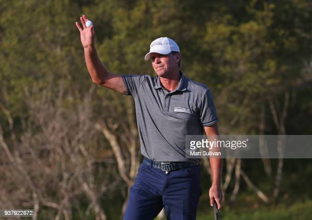 Steve Stricker waves to the gallery after winning the Rapiscan Systems Classic at Fallen Oak Golf Course on March 25 2018 in Saucier Mississippi