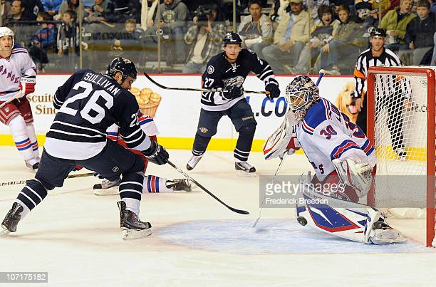 Steve Sullivan of the Nashville Predators takes a shot on Henrik Lundqvist of the New York Rangers on November 27 2010 at the Bridgestone Arena in...