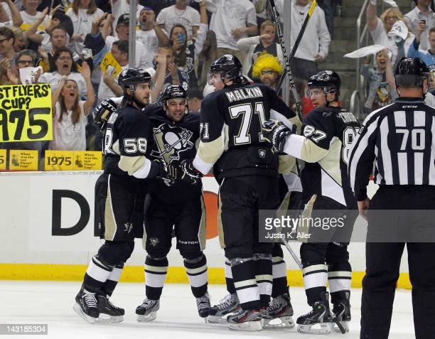 Steve Sullivan of the Pittsburgh Penguins celebrates his first period goal against the Philadelphia Flyers in Game Five of the Eastern Conference...