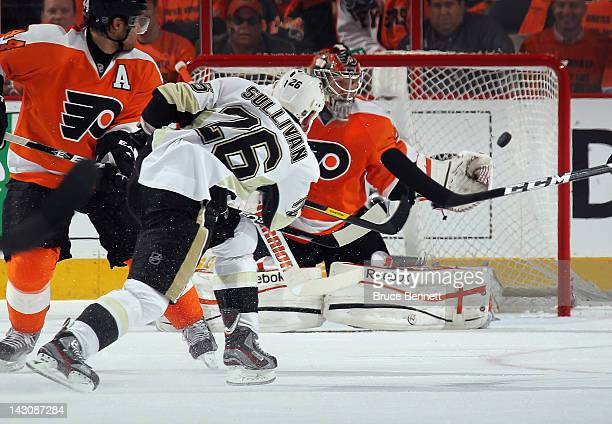 Steve Sullivan of the Pittsburgh Penguins scores a powerplay goal at 1055 of the second period against Sergei Bobrovsky of the Philadelphia Flyers...
