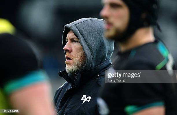 Steve Tandy Head Coach of Ospreys during the European Rugby Challenge Cup match between Ospreys and Lyon at the Liberty Stadium on January 15 2017 in...
