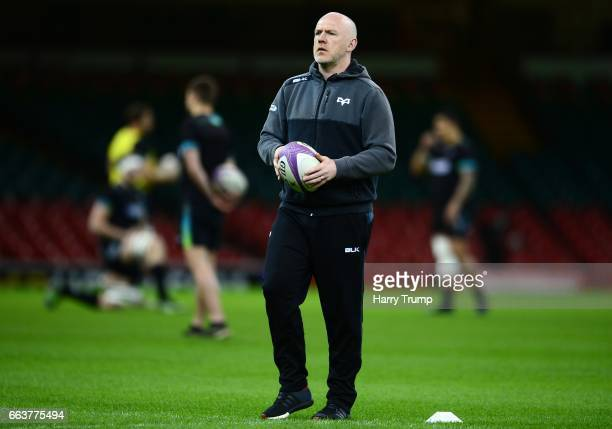 Steve Tandy Head Coach of Ospreys during the European Rugby Challenge Cup match between Ospreys and Stade Francais Paris at the Principality Stadium...