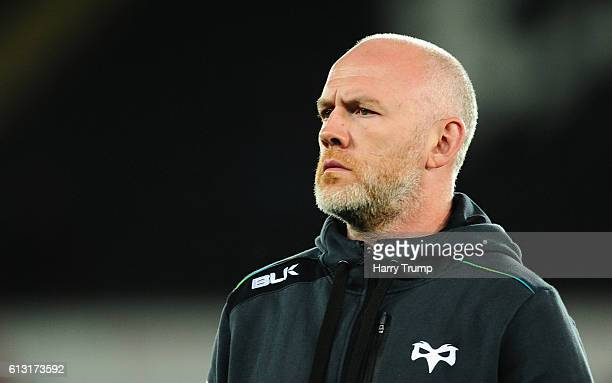 Steve Tandy Head Coach of Ospreys during the Guiness Pro12 match between the Ospreys and Cardiff Blues at the Liberty Stadium on October 7 2016 in...