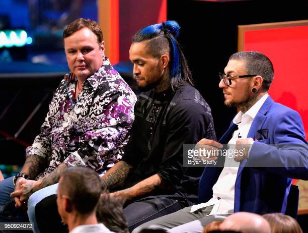 Steve Tefft Anthony Michaels and DJ Tambe onstage during the Ink Master Season 10 Finale at the Park Theater at Monte Carlo Resort and Casino in Las...