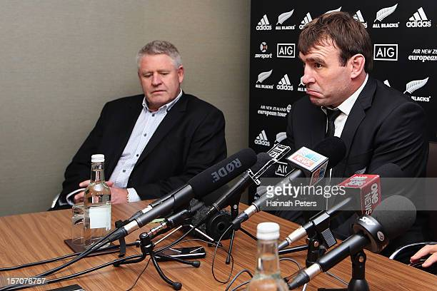 Steve Tew and Andrew Hore of the All Blacks face the media during a press conference at the Royal Gardens hotel on November 28 2012 in London England...