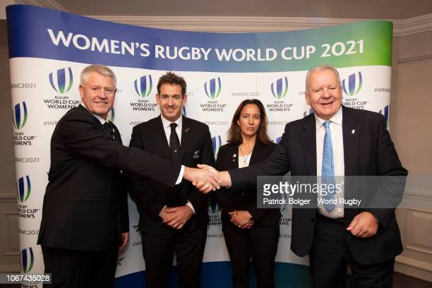 Steve Tew CEO New Zealand Rugby Mark Robinson former All Black and New Zealand Rugby board member Dr Farah Palmer former Black Fern and New Zealand...