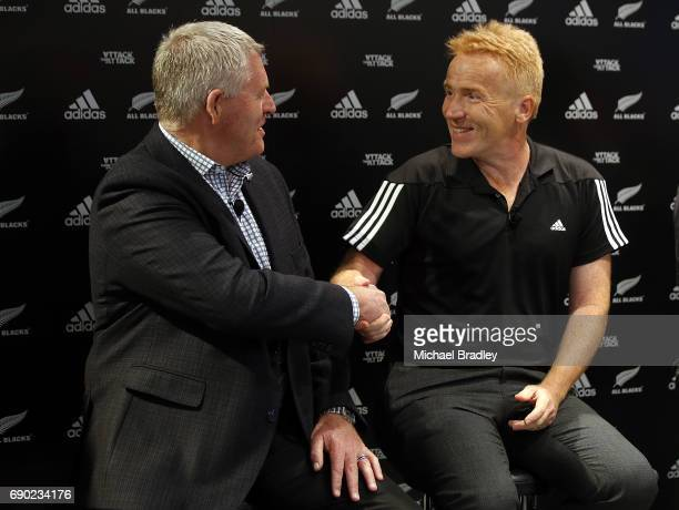 Steve Tew CEO of the New Zealand Rugby and Simon Cartwright adidas Senior Director Team Sports during the New Zealand All Blacks adidas jersey launch...