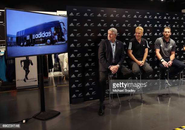 Steve Tew CEO of the New Zealand Rugby Simon Cartwright adidas Senior Director Team Sports and All Blacks Captain Kieran Read during the New Zealand...