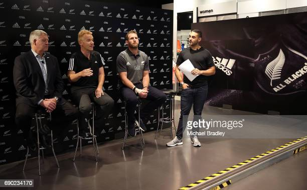 Steve Tew CEO of the New Zealand Rugby Simon Cartwright adidas Senior Director Team Sports All Blacks Captain Kieran Read and Dan Bowden during the...
