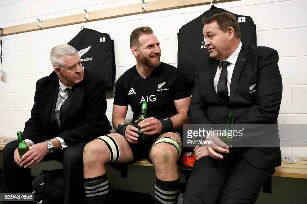 Steve Tew Kieran Read and Steve Hansen in the dressing room following The Rugby Championship Bledisloe Cup match between the New Zealand All Blacks...