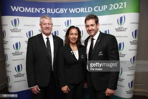 NZR CEO Steve Tew NZR Board Member's Dr Farrah Palmer and Mark Robinson following the winning bid by New Zealand to host the 2021 Women's Rugby World...