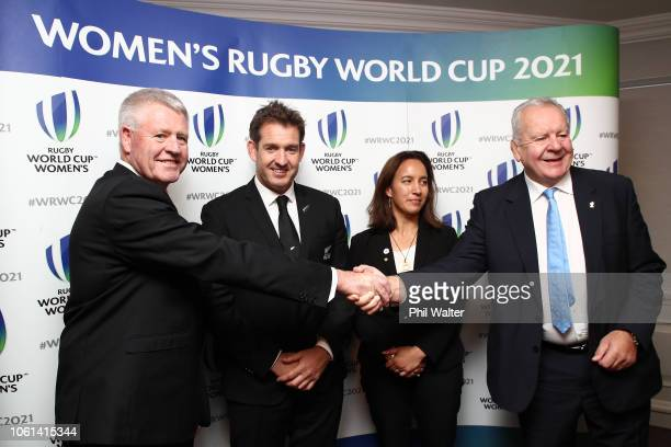 NZR CEO Steve Tew NZR Board Member's Mark Robinson and Dr Farrah Palmer and World Rugby Chairman Bill Beaumont following the winning bid by New...