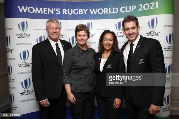 NZR CEO Steve Tew NZR Board Member's World Rugby Council Member Dr Deb Robinson Dr Farrah Palmer and Mark Robinson following the winning bid by New...