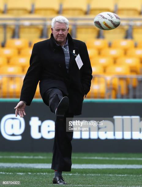Steve Tew the NZR CEO kicks the ball during the New Zealand All Blacks Captain's Run at Westpac Stadium on June 30 2017 in Wellington New Zealand