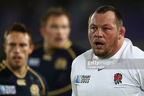 Steve Thompson of England looks on during the IRB 2011 Rugby World Cup Pool B match between England and Scotland at Eden Park on October 1, 2011 in...