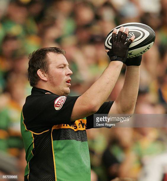 Steve Thompson of Northampton prepares to throw the ball in during the Guinness Premiership match between Northampton Saints and Newcastle Falcons at...