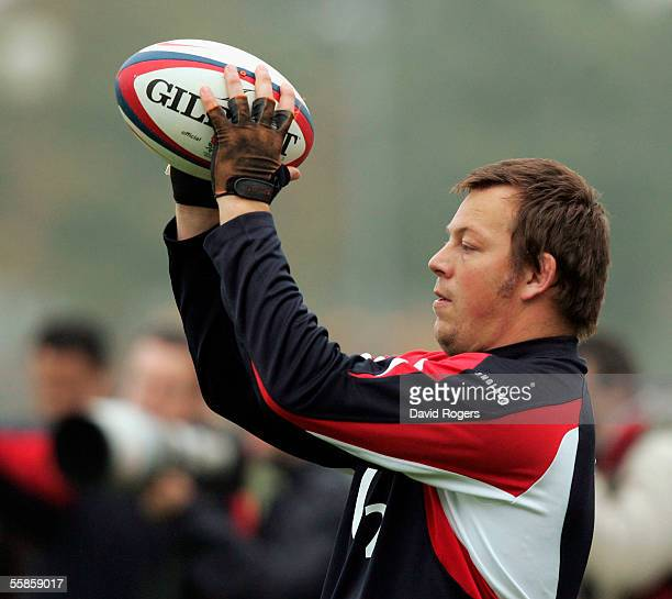 Steve Thompson the England hooker throws the ball in during the England rugby union training session held at Loughborough University on October 6...