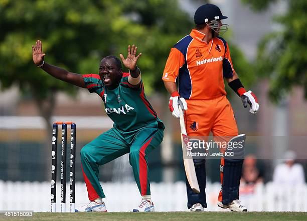 Steve Tikolo of Kenya appeals for the the wicket of Ben Cooper of the Netherlands during the ICC World Twenty20 Qualifier between The Netherlands and...