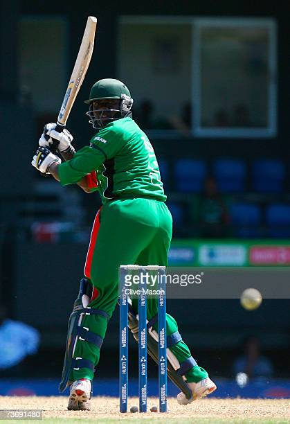 Steve Tikolo of Kenya hits out during the ICC Cricket World Cup Group C match between England and Kenya at the Beausejour Cricket Ground on March 24...