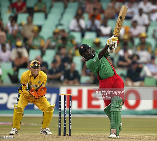 Steve Tikolo of Kenya hits out during the World Cup Super Six One Day International match between Australia and Kenya held on March 15 2003 played at...