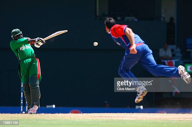 Steve Tikolo of Kenya hits out off the bowling of Sajid Mahmood of England during the ICC Cricket World Cup Group C match between England and Kenya...